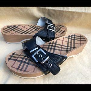 Burberry wooden sandals clogs size 7.5
